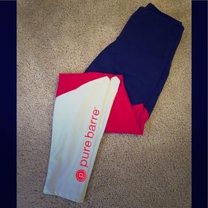 Pure Barre Red, White, & Black Leggings